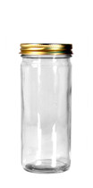 Case of 12 - 8 oz. Glass Paragon Jar w/ Gold Cap