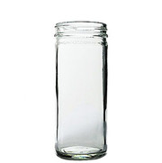 16 oz. Glass Paragon Jar w/ White PP 63-400 ribbed skirt lid with foam liner White Cap