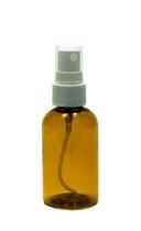 30 ml (1 oz.) Amber PET Plastic Boston Round Bottle with White Fine Mist Sprayer