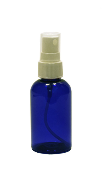 30 ml (1 oz.) Blue PET Plastic Boston Round Bottle w/ White Sprayer