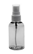 Clear PET Plastic Boston Round Bottle w/ White Sprayer