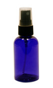 60ml (2oz.) Blue PET Plastic Boston Round Bottle w/ Black Sprayer