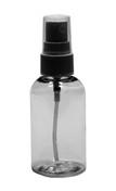 Clear PET Plastic Boston Round Bottle w/ Black Sprayer