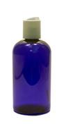 240ml (8oz.) Blue PET Plastic Boston Round Bottle with White Dispenser Cap