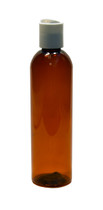240ml (8oz.) Dark Amber PET Bullet Bottle with White Disc Cap