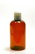 240ml (8oz.) Amber PET Plastic Boston Round Bottle with White Dispenser Cap
