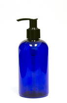 240ml (8oz.) Blue PET Plastic Boston Round Bottle with Black Lotion Dispenser Pump