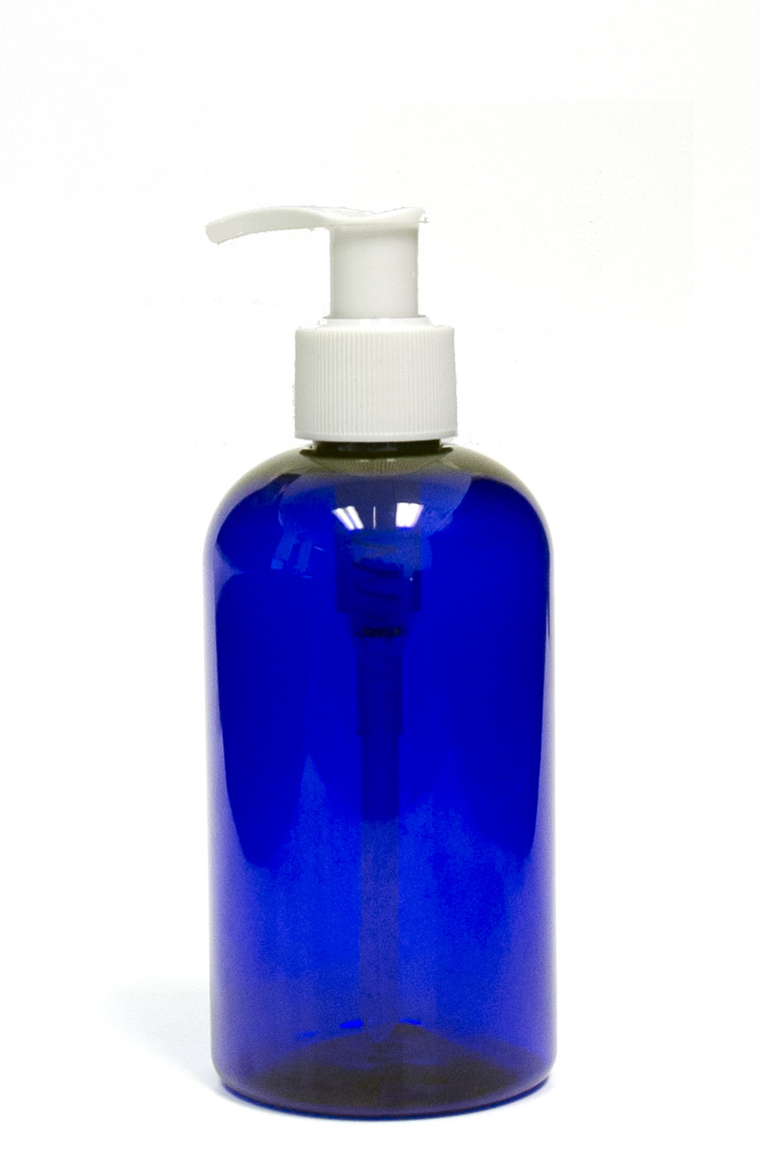 240ml 8oz Blue Pet Plastic Boston Round Bottle With