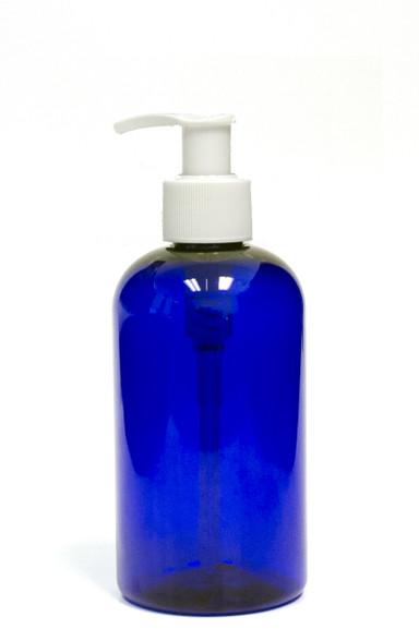 240ml (8oz.) Blue PET Plastic Boston Round Bottle with White Lotion Dispenser Pump