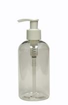 240ml (8oz.) Clear PET Plastic Boston Round Bottle with White Lotion Dispenser Pump