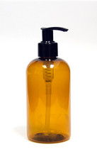 240ml (8oz.) Amber PET Plastic Boston Round Bottle with Black Lotion Dispenser Pump