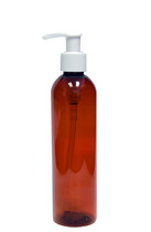 240ml (8oz.) Amber PET Bullet Bottle with White Lotion Pump