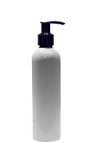 240ml (8oz.) White PET Bullet Bottle with Black Lotion Pump