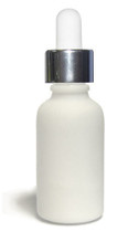 30ML (1oz.) White Ceramic European Round Bottle w/ Silver CRC Dropper