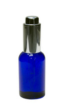 60ml (2oz.) Blue PET Plastic Boston Round Bottle w Silver Push Button Regular Dropper