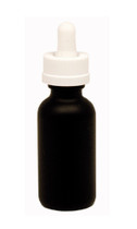 30ML (1oz) Black Coated Boston Round Dropper Bottle with White Child Resistant Dropper