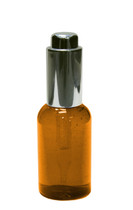 60ml (2oz.) Amber PET Plastic Boston Round Bottle w Silver Push Button Regular Dropper
