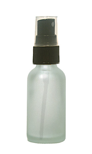 30ML (1oz) Frosted Clear Boston Round Bottles with Black Fine Mist Sprayer