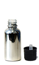 30ML (1oz.) Silver Chrome Coated Glass Euro Bottle with Tamper Evident Cap & Orifice Reducer
