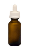 30ML (1oz) Frosted Amber Boston Round Dropper Bottle with White Child Resistant Dropper