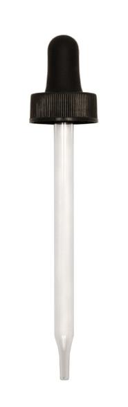 Glass Dropper for 120 ml Boston Round 108mm Pipette w/ 22-400mm neck (BLACK)