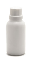 30 ML (1 oz) White Ceramic Essential Oil Euro Bottle with White Heavy Duty Tamper Evident Cap & Orifice Reducer