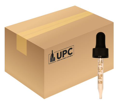 Case of Glass Regular Calibrated Dropper with 66mm Pipette For 15ml Boston Round with 18mm-neck (BLACK)