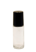 30 ml (1 oz) Clear Roll On Bottle with Black Cap & Roller Ball