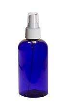 240ml (8oz.) Blue PET Plastic Boston Round Bottle with white Fine Mist Sprayer