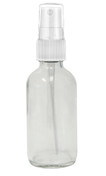 120ml Clear Boston Round bottle with matching White mist sprayer /  24-400 neck finish - Includes clear plastic cap