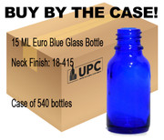 15ML Blue Glass European Round Bottle case-540 bottles