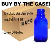 15ML 0.5 oz cobalt blue glass Boston round bottle with 18-400 neck finish
