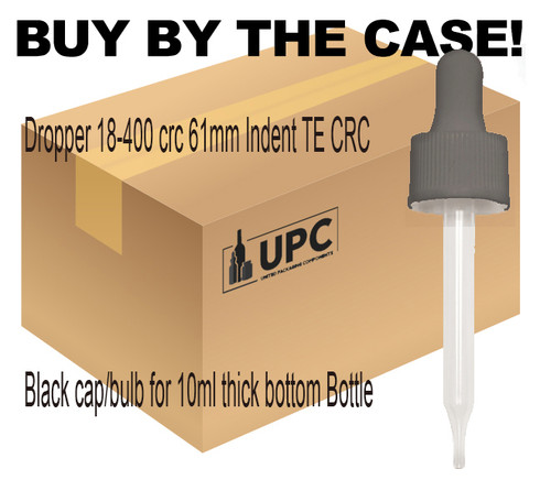 Dropper 18-400 crc 61mm Indent TE CRC Black cap/bulb for 10ml thick bottom Bottle