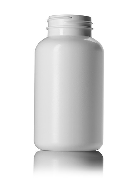 300 cc white HDPE pill packer bottle with 45-400 neck finish