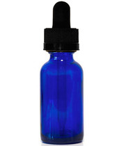 15ML (0.5oz) Blue Glass Boston Round Bottle W/Black  CRC Dropper