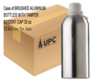 Case of  BRUSHED ALUMINUM BOTTLES W/ TAMPER EVIDENT CAP  32 oz