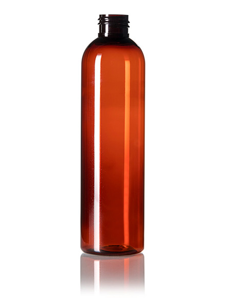 240ml (8oz.) Amber PET Bullet Bottle with White Disc Cap