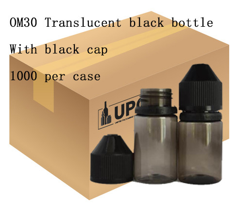 OM30 translucent black bottle with black cap