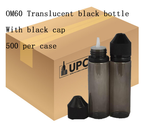 OM60 translucent black bottle with black cap