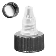 24 mm 24-410 Black HDPE Cap with Natural Colored LDPE twist open dispensing Lid Lined with HS035 universal induction liner