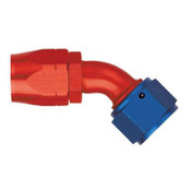Fitting, Hose End, AQP/Starlite, 45 Degree, 20 AN Hose to 20 AN Female, Aluminum, Blue / Red Anodize, Each