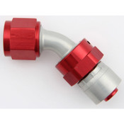 Fitting, Hose End, AQP/Starlite, 45 Degree, 6 AN Hose Crimp to 6 AN Female Swivel, Aluminum, Red / Silver, Each