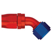Fitting, Hose End, AQP/Starlite, 45 Degree, 8 AN Hose to 8 AN Female Swivel, Aluminum, Blue / Red Anodize, Each