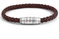 Combination Lock Bracelet - Brown Leather Large