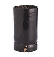 Cintura large black mouthblown glass vase