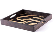 Square Leather Tray - Zebra Inlay