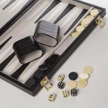 New School Backgammon Set in Black Croc