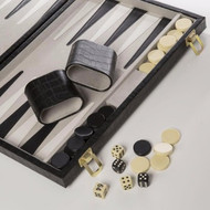 New School Backgammon Set in Black Croc