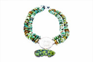 2 strand green turquoise, 1893 silver coin with green turquoise pendant