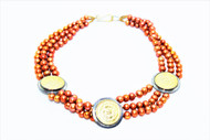 3 strand bronze pearls 3 coins